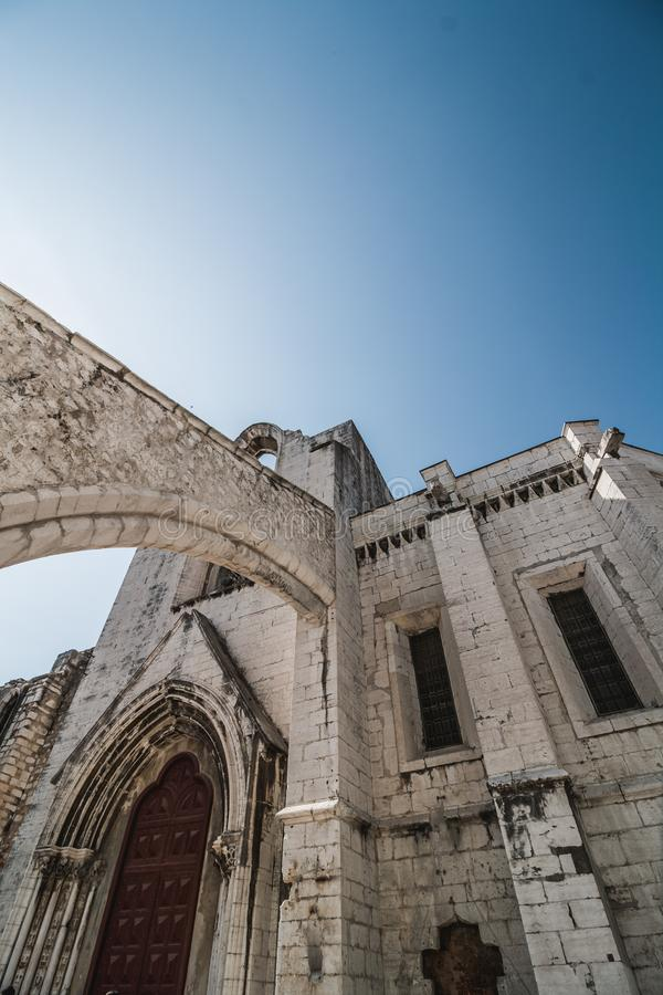 Ruins of the Gothic Church of Our Lady of Mount Carmel Igreja do Carmo in Lisbon stock image