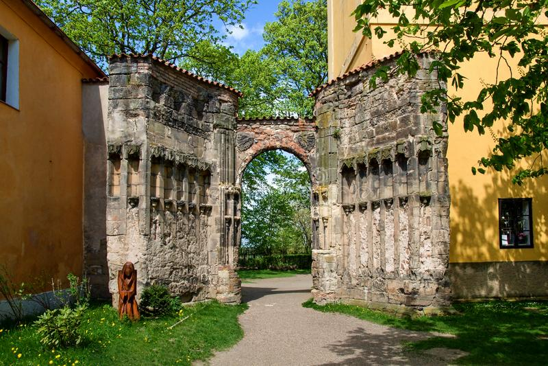 The ruins of gothic church. In Panensky Tynec - Czech Republic stock photos