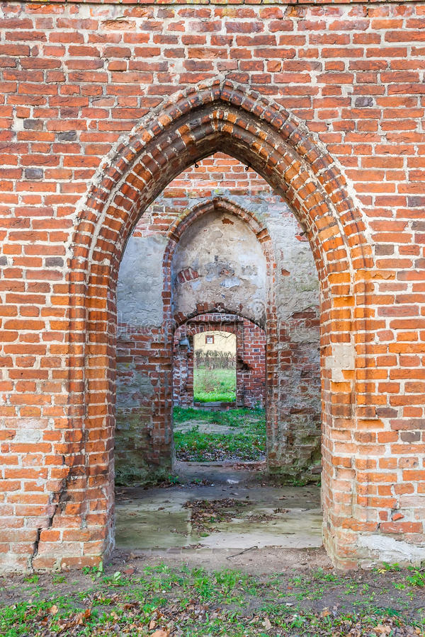 Download Ruins Of Gothic Church From A Red Brick Stock Image
