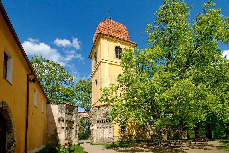The ruins of gothic church. In Panensky Tynec - Czech Republic royalty free stock image
