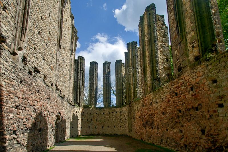 The ruins of gothic church. In Panensky Tynec - Czech Republic royalty free stock photo