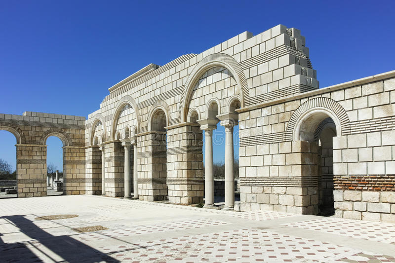 Ruins of The Great Basilica near The capital city of the First Bulgarian Empire Pliska royalty free stock photo
