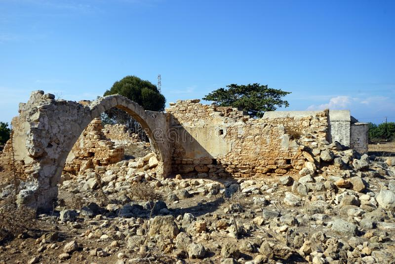 Ruins of greek church. On the Dipkarpass peninsula, North Cyprus stock photos