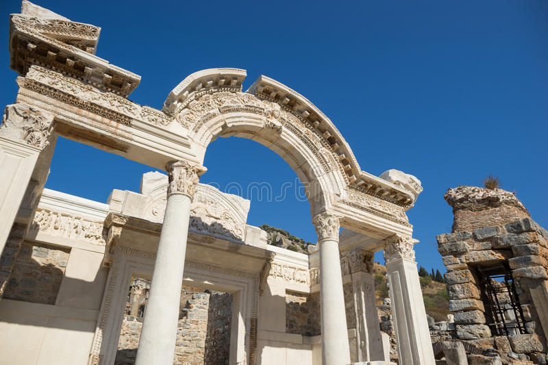 Ruins of greek city Ephesus. In Turkey stock photography