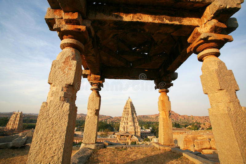 Ruins of Hampi, India. Hampi is a village in northern Karnataka state, India. Hampi is located within the ruins of Vijayanagara, the former capital of the stock image