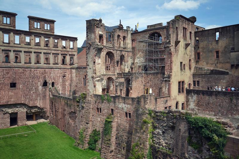 Ruins of the Heidelberg castle, Baden-Wurttemberg, Germany, sunny day stock image