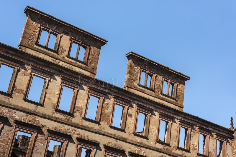 Ruins of Heidelberg castle - Closeup of detached wall with empty windows of the famous renaissance castle and landmark of Heidelb stock photography