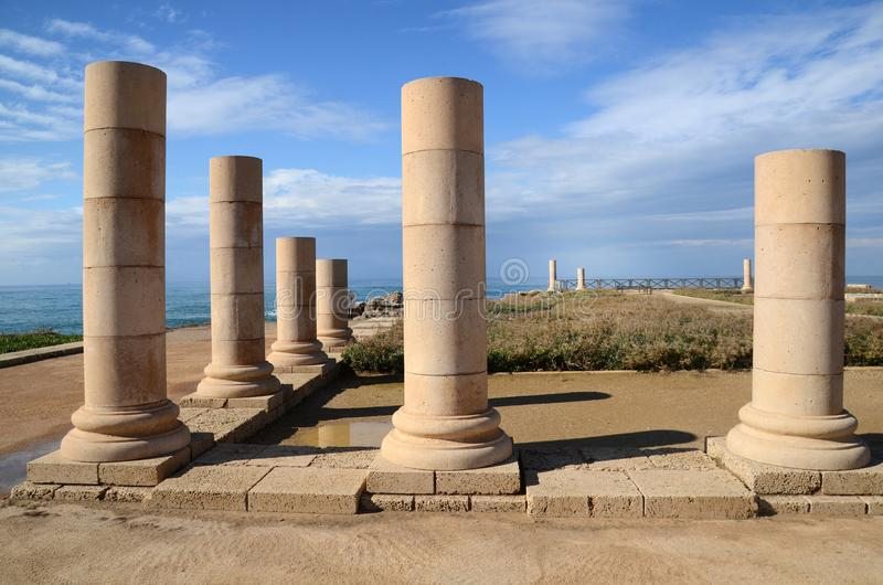 Ruins of Herods the Great palace stock photos