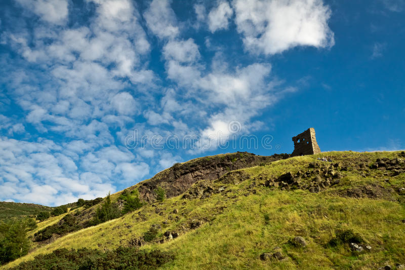 Ruins on hill near Holyrood Park stock images