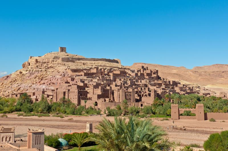 Berber Kasbah Ait Benhaddou, ruins of ancient clay fortress, Morocco stock photography