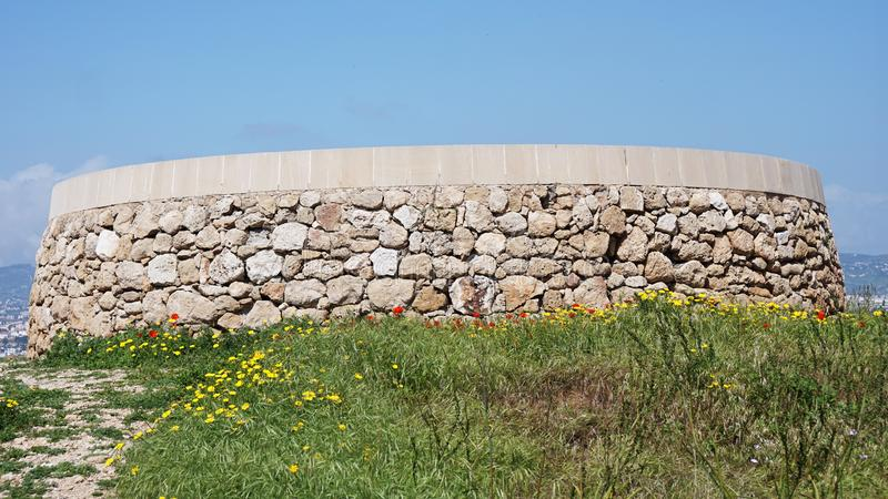The ruins of the historic places building stone under the open sky in Cyprus Paphos royalty free stock photos