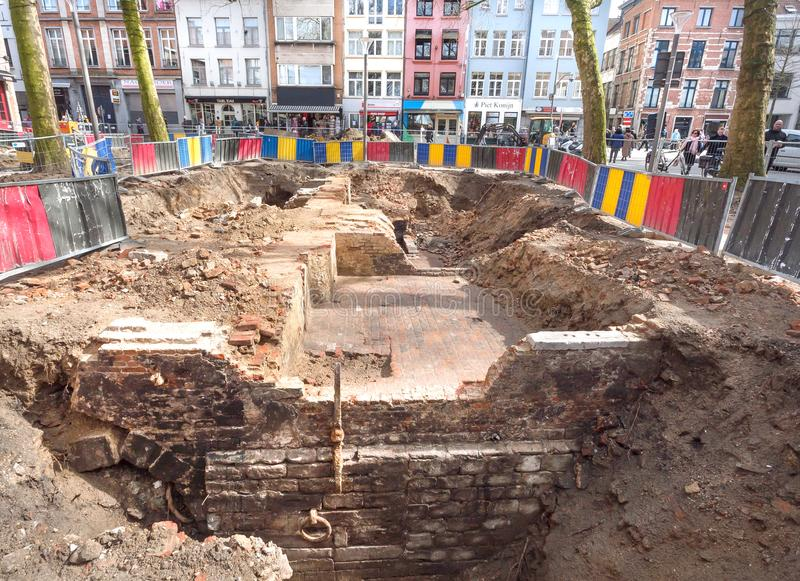 Ruins of historical sea pier during archaeological excavations in old city royalty free stock photos