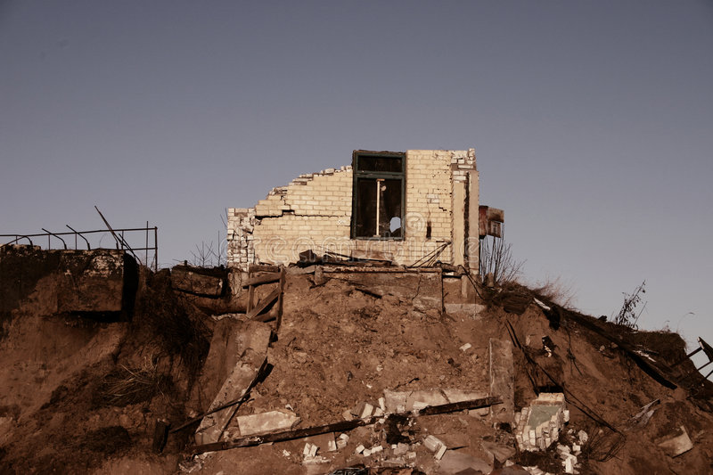 Ruins of house stock photography