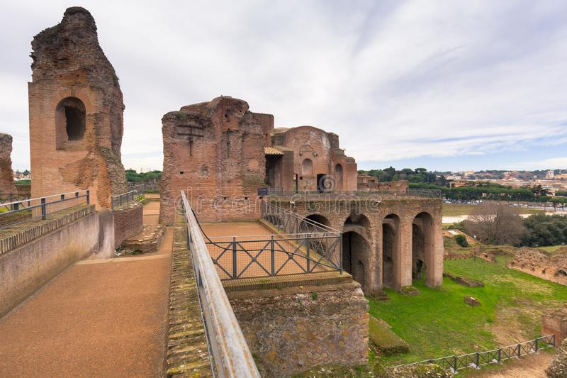 Ruins of the House of Augustus on the Palatine in ancient Rome, Italy stock images