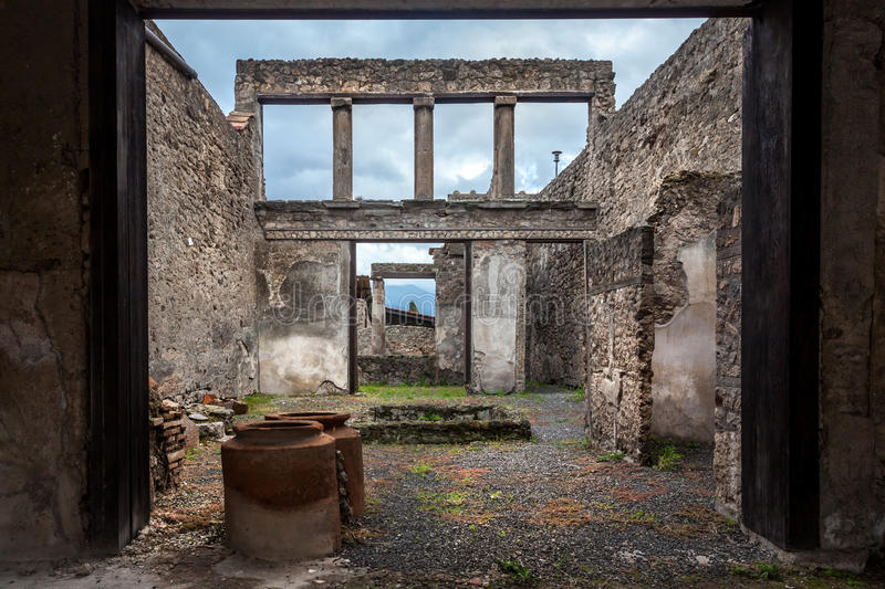 Ruins of a house in Pompeii. royalty free stock photo