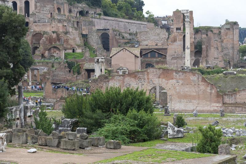 Ruins of the House of the Vestals in the Roman Forum. Rome, Italy stock image