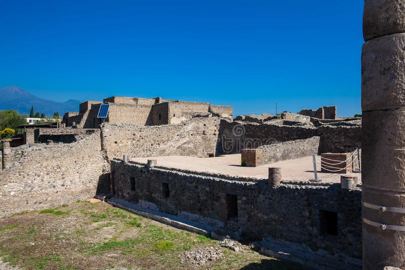 Ruins of the houses of the ancient city of Pompeii. The ruins of the houses of the ancient city of Pompeii royalty free stock images
