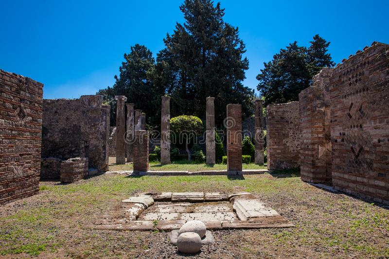 Ruins of the houses in the ancient city of Pompeii. The ruins of the houses in the ancient city of Pompeii royalty free stock image
