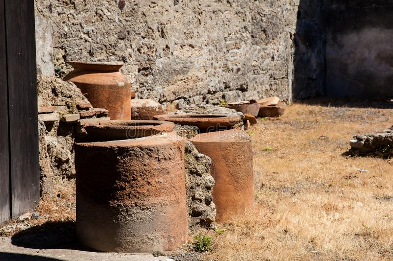 Ruins of the houses in the ancient city of Pompeii. The ruins of the houses in the ancient city of Pompeii stock photo