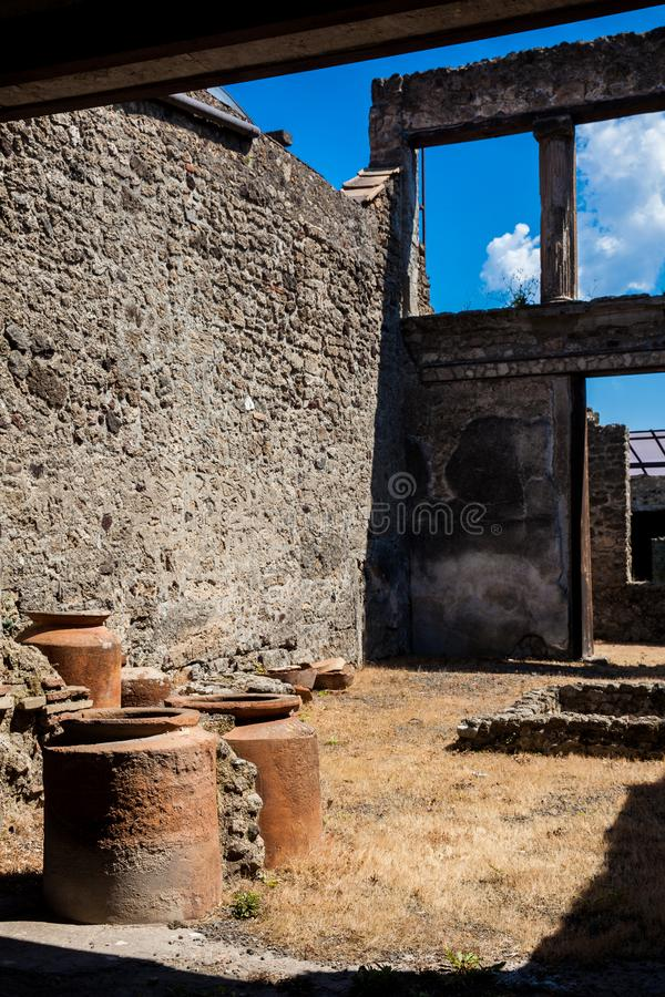 Ruins of the houses in the ancient city of Pompeii. The ruins of the houses in the ancient city of Pompeii stock images
