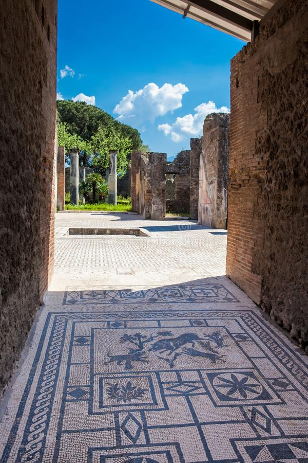 Ruins of the houses in the ancient city of Pompeii. The ruins of the houses in the ancient city of Pompeii royalty free stock photography