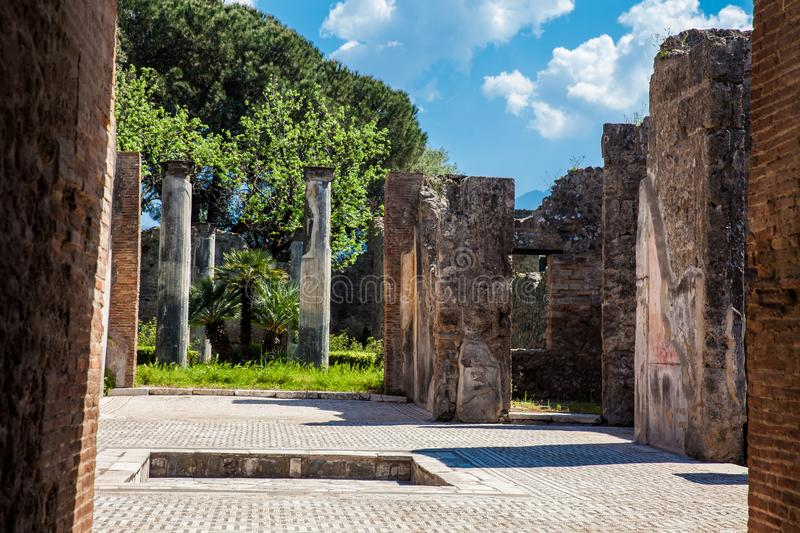 Ruins of the houses in the ancient city of Pompeii. The ruins of the houses in the ancient city of Pompeii royalty free stock photo