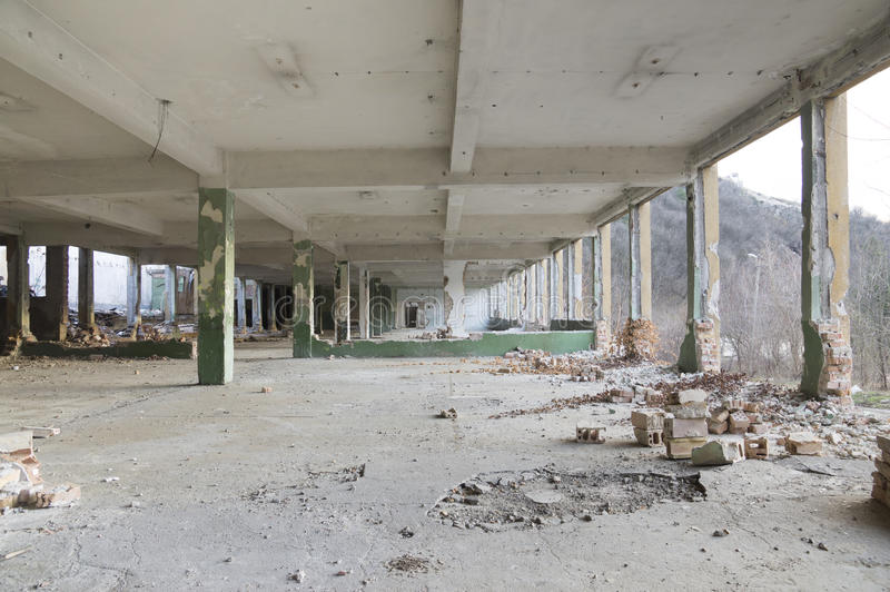 Ruins of a huge empty building royalty free stock photography