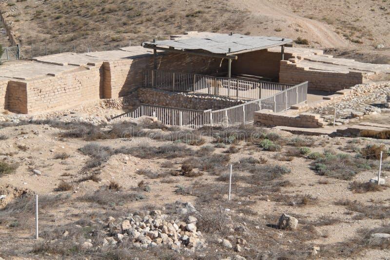 Water Factory Ruins, Tel Beer Sheva, Israel. Ruins of the huge water factory made of stones at the Archeological National park Tel Beer Sheva, Israel stock image