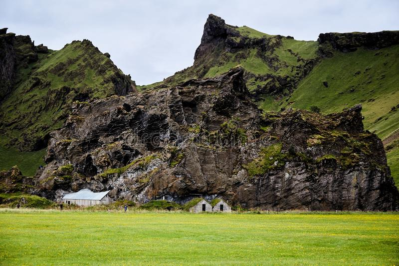 Ruins of Icelandic traditional house stock photo