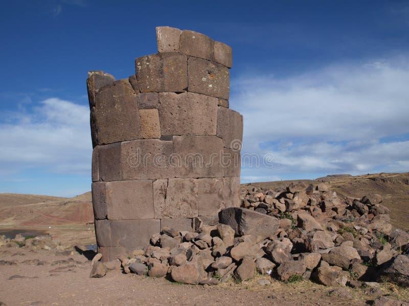 Ruins of Inca tower stock photo