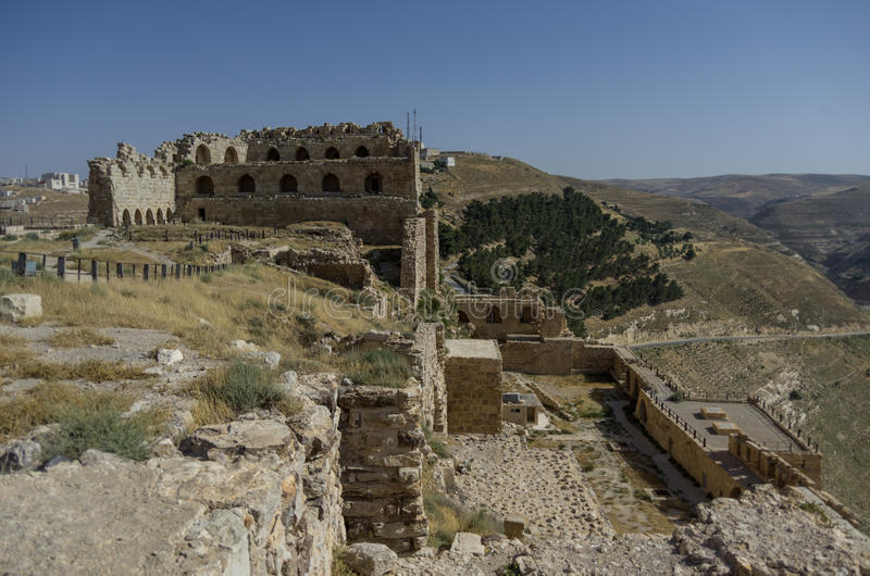 Ruins of the Kerak Castle, a large crusader castle in Kerak (Al royalty free stock photography