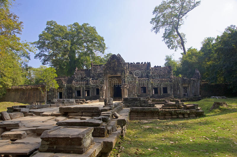 The ruins of the Khmer temple stock images