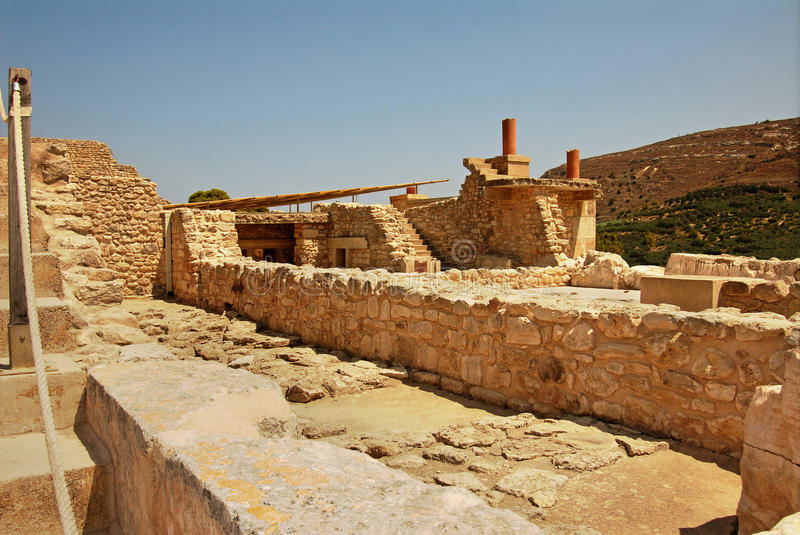 Ruins of Knossos Palace in Crete. Palace ruins which are found during excavation on the island of Crete stock photos
