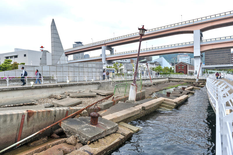 Ruins from Kobe Great Hanshin earthquake in 1995 preserved as a reminder for destructive power of nature at Port of Kobe Earthquak. Kobe, Japan - April 2016 royalty free stock image