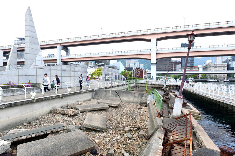 Ruins from Kobe Great Hanshin earthquake in 1995 preserved as a reminder for destructive power of nature at Port of Kobe Earthquak. Kobe, Japan - April 2016 stock photos