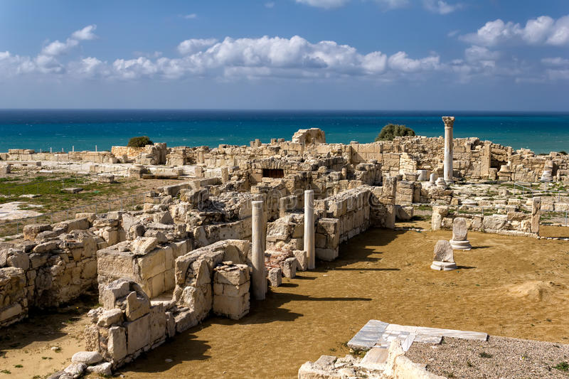 Ruins of Kourion, an ancient Greek city in Cyprus stock images