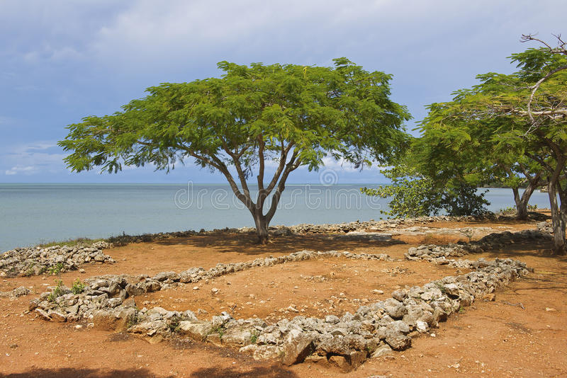 Ruins of La Isabella settlement in Puerto Plata, Dominican Republic. La Isabella was founded by Christopher Columbus in 1493 stock photos