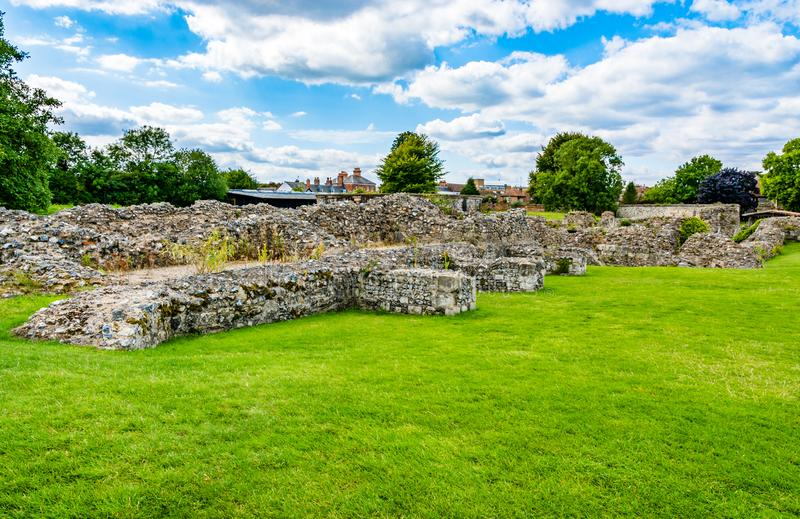 Ruins of Lady Chapel and Crypt at St Augustine's Abbey in Canter stock image
