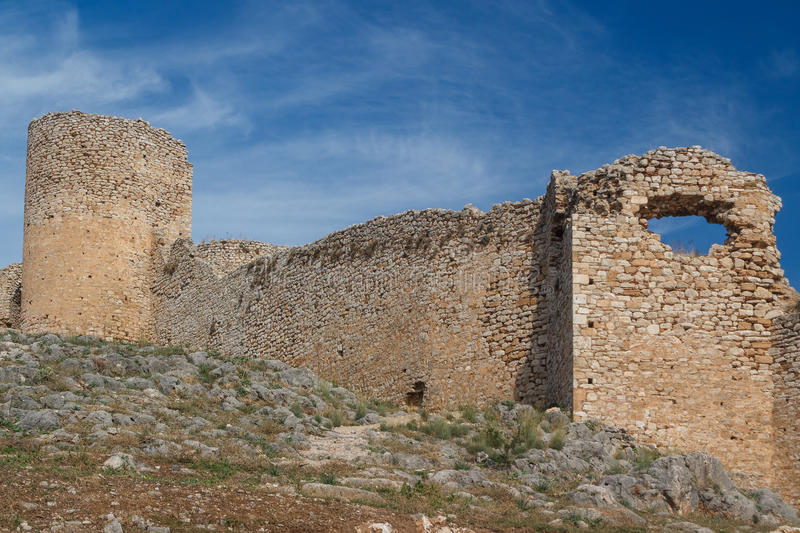 Ruins of Larissa castle stock photos