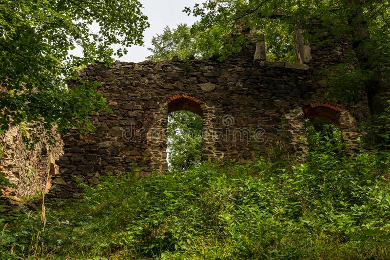 Ruins of Liebau castle above Weisse Elster river between Plauen and Elsterberg towns in Germany. During nice summer day royalty free stock photos