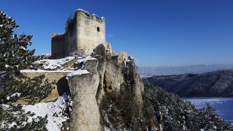 Ruins of Lietava castle in winter time, Slovakia stock image