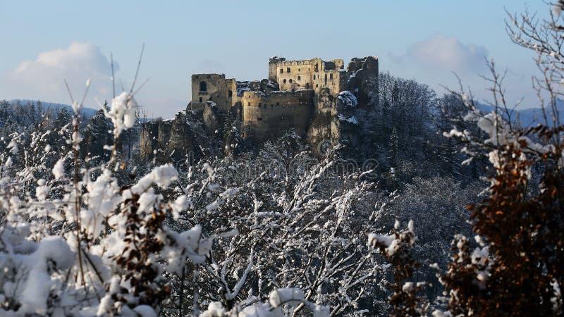 Ruins of Lietava castle in winter time, Slovakia stock photo