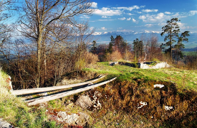 Ruins of Liptov castle. Scenic view of ruins of Liptov castle in countryside, Slovakia royalty free stock photos