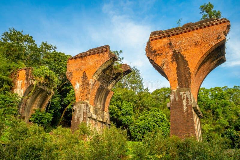 Ruins of Long-teng Bridge, Miaoli County, Taiwan. Ruins of Long-teng Bridge, the most popular tourist destination of Miaoli County, Taiwan royalty free stock photography