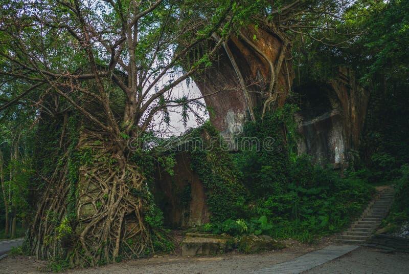 Ruins of Longteng Bridge, Miaoli County, Taiwan. Ruins of Long-teng Bridge, the most popular tourist destination of Miaoli County, Taiwan royalty free stock image