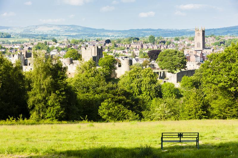 Ruins of Ludlow Castle, Shropshire, England. Outdoors, outside, exteriors, europe, western, great, britain, united, kingdom, uk, midlands, town, architecture stock photos