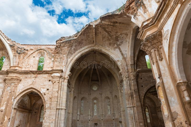 Ruins of the church of the Monastery of Piedra. Ruins of the main church of the XIII Century Monasterio de Nuestra Señora de Piedra Monastery of our Lady of royalty free stock image