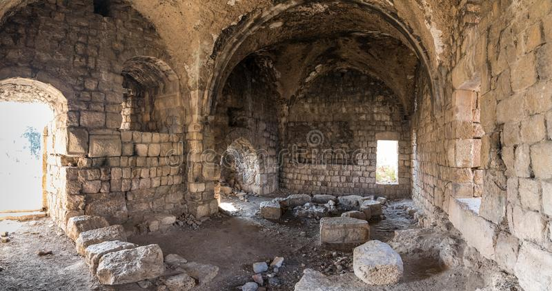 The ruins  of main hall of crusader Fortress Chateau Neuf - Metsudat Hunin is located at the entrance to the Israeli Margaliot royalty free stock photos