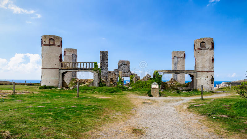 Ruins of the Manoir de Coecilian of the French poet Saint-Pol-Roux / Paul-Pierre Roux in Camaret-sur-Mer, Brittany, France royalty free stock photos