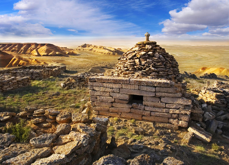 Ruins mausoleum of an ancient Muslim cemetery royalty free stock photo